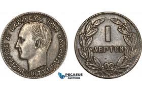 AF230, Greece, George I, 1 Lepton 1870-BB, Strasbourg, XF-AU