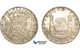 AF231, Mexico, Philip V, Pillar 8 Reales 1744 Mo MF, Mexico City, Silver, Lustrous AU (Light cleaning)