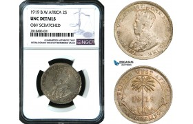AB420, British West Africa, George V, 2 Shillings 1919, Silver, NGC UNC Det. Top Pop!