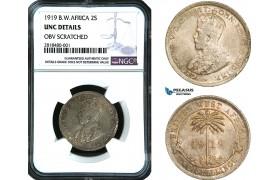 AB420, British West Africa, George V, 2 Shillings 1919, Silver, NGC UNC Det. Top Pop!