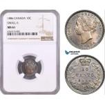 AE477, Canada, Victoria, 10 Cents 1886, Silver, Small 6, NGC MS61, Pop 1/1, Rare!