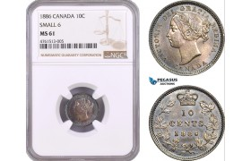 AE477, Canada, Victoria, 10 Cents 1886, Silver, Small 6, NGC MS61, Pop 1/1, Rare!