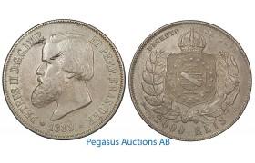 B02, Brazil, Pedro II, 2000 Reis 1889, Silver Crown, Nice!