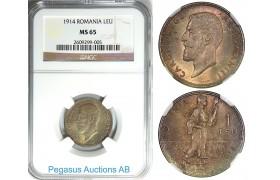 B46, Romania, Carol I, 1 Leu 1914, NGC MS65, Frosty!