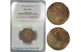 B57, France, Napoleon III, 5 Centimes 1853-W, NGC MS65RB, Pop 1