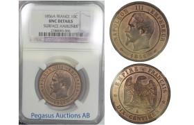 B58, France, Napoleon III, 10 Centimes 1856-A, NGC UNC.