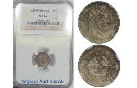 B59, France, Louis Philippe I, 1/4 Franc 1839-W, NGC MS65, Pop 1
