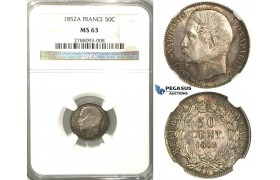 B60, France, Napoleon III, 50 Centimes 1852-A, Silver, NGC MS63