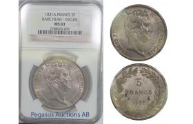 B61, France, Louis Philippe I, 5 Francs 1831-A, Bare Head-Incuse, NGC MS63 Pop 1, Rare Grade!