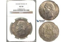 B62, France, Napoleon III, 5 Francs 1856-BB, Silver, NGC AU58