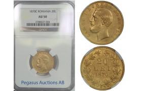 B71, Romania, Carol I, 20 Lei 1870, Gold, NGC AU50, Rare!
