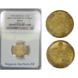 B72, Romania, Carol I, 12-1/2 Lei 1906, Brussels, Gold, NGC MS62