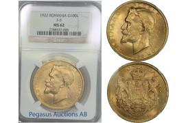 B76, Romania, Ferdinand, 100 Lei 1922, Gold, NGC MS62
