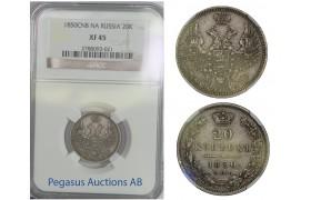 B79, Russia, Nicholas I, 20 Kopeks 1850-PA, Silver, NGC XF45