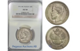 B83, Russia, Nicholas II, 50 Kopeks 1913-VS, NGC AU58