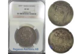 B86, Russia, Nicholas II, Rouble 1899 (**), Brussels, Silver, NGC XF45