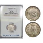 B88, Serbia, Petar I, 50 Para 1915, Silver, KM-24.3, NGC MS64