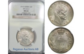 B90, Serbia, Petar I, 2 Dinara 1915, Silver, KM-26.3, NGC MS64