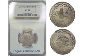 B91, Ottoman Empire/Turkey, Abdul Hamid II, 5 Kurush AH1293/14, NGC MS63