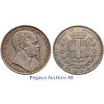 B97, Italy, Sardinia, Vittorio Emanuele, 5 Lire 1850-P, Turin, Silver (Crown)
