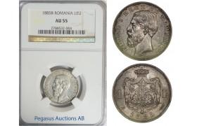 B99, Romania, Carol I, 1 Leu 1885, Silver, NGC AU55, RARE!