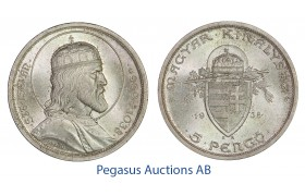 C14, Hungary, 5 Pengö 1938-BP (St. Stephen) Silver, Br. UNC