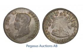 C23, Bolivia, 4 Soles 1858-PTS/FJ, Potosi, Silver, Rainbow toned High Grade!