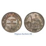 C34, French Indo-China (Vietnam) Piastre 1906-A, Paris, Silver, Toned High Grade!