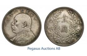 "C35, China, ""Fat Man"" Yuan (Dollar) Year 8 (1919) Silver, Toned High Grade!"