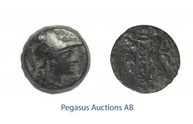C48, Pamphylia, Side, Æ 15 (3.85g) Athena, Nike, Brown Patina