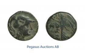 C49, Pamphylia, Side, Æ 15 (2.57g) Athena, Nike, Brown Patina, Owl countermark