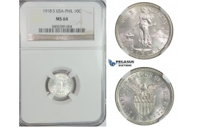 C88, Philippines (US Administration) 10 Centavos 1918-S, Silver, NGC MS64