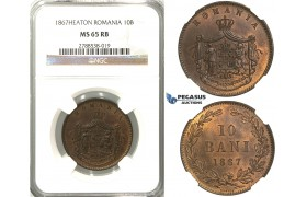 C92, Romania, Carol I, 10 Bani 1867-Heaton, NGC MS65RB (Pop 1/4)