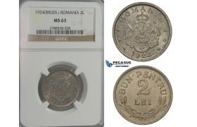 C95, Romania, Ferdinand I, 2 Lei 1924 (Brussels) NGC MS63