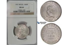D03, Brazil, 1000 Reis 1907, Silver, NGC MS64 (Pop 1/2)
