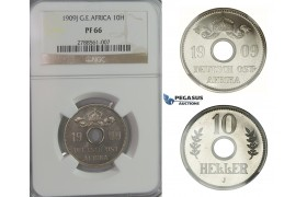 D05, German East Africa (DOA) 10 Heller 1909-J (Hamburg) NGC PF66 (Pop 1/2)