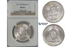 D06, Honduras, Lempira 1937, Silver, NGC MS64 (Pop 1/2)