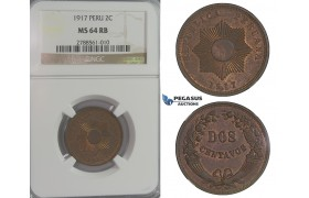 D08, Peru, 2 Centavos 1917, NGC MS64RB (Pop 1)