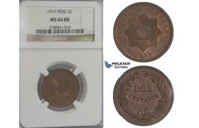 D08, Peru, 2 Centavos 1917, NGC MS64RB (Pop 1)