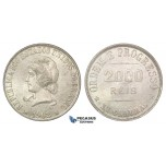 D12, Brazil, 2000 Reis 1908, Silver, Mint State (Hairline scratch under neck)