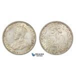 D15, Sri Lanka (Ceylon) George V, 50 Cents 1928, Silver, High Grade!