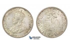 D15, Sri Lanka (Ceylon) George V, 50 Cents 1928, Silver, High Grade!