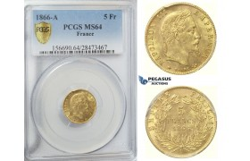 D20, France, Napoleon III, 5 Francs 1866-A, Gold, PCGS MS64