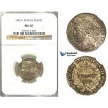 D21, France, 3rd Republic, Franc 1887-A, Silver, NGC MS65