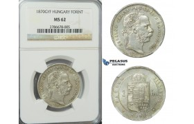 D23, Hungary, Franz Joseph, Forint 1870-GYF, Silver, NGC MS62