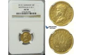 D24, Germany, Westphalia, Hieronymus Napoleon, 10 Francs 1813-C, Gold, NGC AU58
