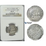 D25, N.E. Indies, Batavian Republic, 1/4 Gulden 1802, Silver, NGC MS62