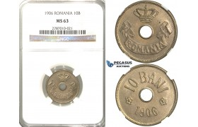 D26, Romania, Carol I, 10 Bani 1906, NGC MS63