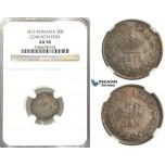 D27, Romania, Carol I, 50 Bani 1873, Silver, NGC AU58