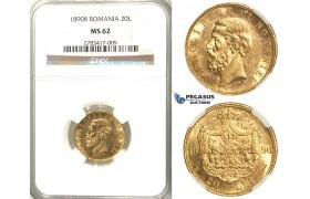 D33, Romania, Carol I, 20 Lei 1890, Gold, NGC MS62